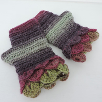 Fingerless Mitts with Dragon Scale Cuffs  Blackcurrant Sage Plum and Olive