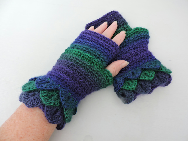 Fingerless Mitts with Dragon Scale Cuffs Purple Emerald Sapphire