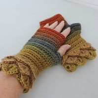 Fingerless Mitts with Dragon Scale Cuffs Autumn Mustard Orange  Sea Green