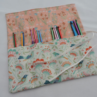 Crochet Hook Roll or Make up Brushes or Jewellery Tools Roll