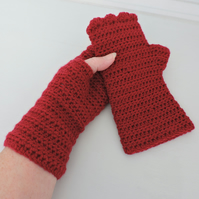 Crochet Fingerless Mitts with Wavy Edge Top Ruby Red
