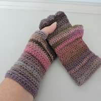 Mismatched Fingerless Mitts    Multi Coloured