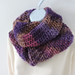 Infinity Scarf Chunky Knit Purple Pink Lilac and Coffee