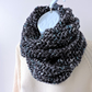 Infinity Scarf  Chunky Knit Dark Grey White and Turquoise