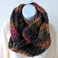 Infinity Scarf Chunky Knit Raspberry Olive Dark Grey and Gold