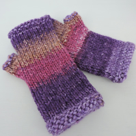 Chunky Knit Fingerless Mitts  Pink Purple Lilac and Taupe