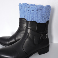 Hand Crochet Boot Toppers Sky Blue
