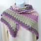 Crochet Shawl in Pale Pink Pale Green Amethyst and Orchid Pink