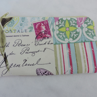Make Up Bag, Cosmetic Bag French Postal and Floral