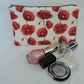 Make Up Bag, Cosmetic Bag, Poppies Red White Green