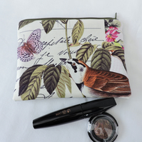 Make Up Bag, Cosmetic Bag Bird and Butterfly