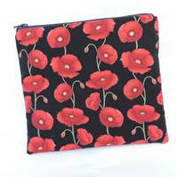 Zipped Pouch Red Poppies