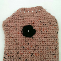 Dusky pink dog sweater, dog coat for extra small dog with pearl beads