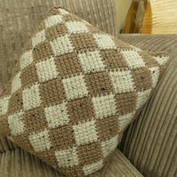 Brown and natural scatter cushion