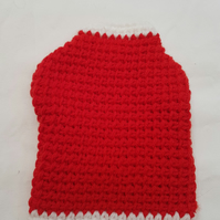 Red and white dog sweater, dog coat for extra small dog