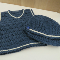 Baby boy blue and cream vest and hat set