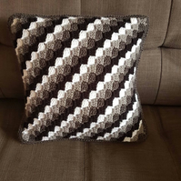 Black, white and grey monochrome accent cushion