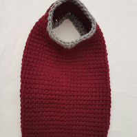 Burgundy dog sweater with silver trim and underbelly strap