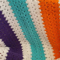 Handmade bright colours granny stitch baby blanket