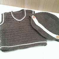 Baby boy Brown and cream vest and hat set