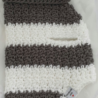 Grey and white chunky striped dog sweater, jumper for small dog or puppy