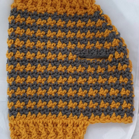 Mustard and grey dog sweater, dog sweater for small dog or puppy