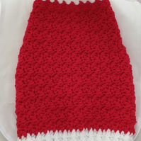 Red and white dog sweater, dog sweater for small dog or puppy