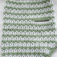 Pale green and white dog sweater, dog sweater for small dog or puppy