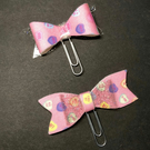 Fabric and Silver Glitter Jelly Bow Planner Paperclips