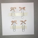4x Baby Pink & Gold Satin Bow Paperclips