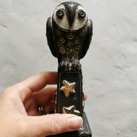 Ceramic Little Owl sculpture - Owl on a gold star plinthowl ornament - owl art -