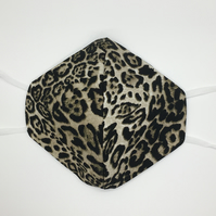 Leopard animal print cotton 3ply triple layered face mask