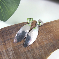 Peridot Earrings, Sterling Silver Long Leaf Dropper Earrings