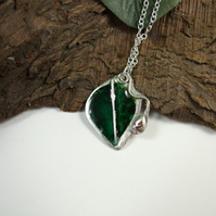Leaf Pendant. Sterling Silver with Enamel Necklace