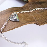 Heart Charm Bracelet. Sterling Silver with Heart Charm and Cubic Zirconia