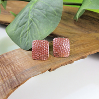 Earrings, Textured Heat Coloured Copper & Silver Large 2cm Square Stud Earrings