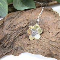 Pansy Flower Pendant, Sterling Silver and Brass Floral Necklace