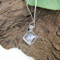 Rainbow Moonstone Necklace, Sterling Silver with Small Bezel Set Gemstone