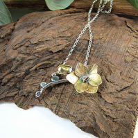 Freesia Flower Pendant, Sterling Silver and Brass Floral Necklace