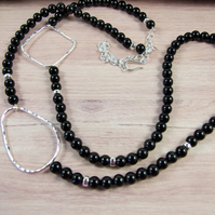 Long Sterling Silver and Black Onyx Necklace - Extends from 24-32 Inches