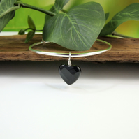 Sterling Silver Adjustable Fit Bangle with Black Onyx Heart Charm
