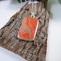 Silver Artisan Pendant. Hand Painted Wearable Art Long Chain Necklace, Red