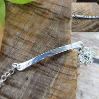 Sterling Silver Bar Bracelet with Hidden Love You Message. Adjustable Fit