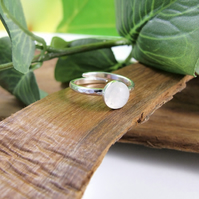 Sterling Silver and Rose Cut Moonstone Ring, Adjustable Fit, Freesize