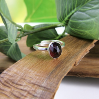 Sterling Silver and Rose Cut Garnet Ring, Adjustable Fit, Freesize