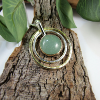 Aventurine Necklace, Sterling Silver & Brass Circles Spinner Pendant