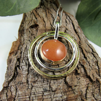 Red Aventurine Necklace, Sterling Silver & Brass Circles Spinner Pendant