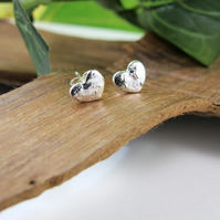 Sterling Silver Stud Earrings, Recycled Silver Dainty Heart Earrings