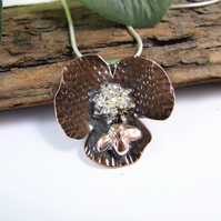 Flower and Bee Pendant, Sterling Silver and Copper Artisan Necklace