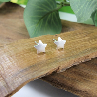 Fine Silver Star Stud Earrings, Recycled Silver Dainty Earrings
